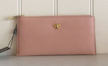 Alice Wheeler Bumblebee Leather Coin & Card Purse - Pink
